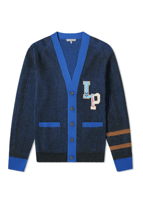 Lanvin Collegiate Patch Cardigan Anthracite & Blue