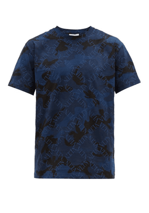 Valentino - Logo Print Camouflage Cotton T Shirt - Mens - Blue