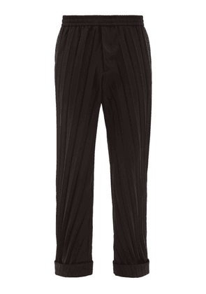 Valentino - Turned Up Cuff Plissé Trousers - Mens - Black