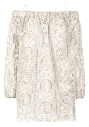 Blumarine embroidered off-the-shoulder blouse - Neutrals