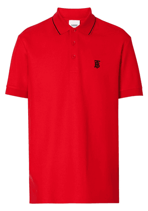 Burberry Icon Stripe Placket Cotton Piqué Polo Shirt - Red