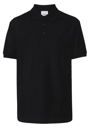 Burberry Monogram Motif Cotton Piqué Polo Shirt - Black
