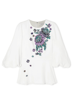 Andrew Gn - Embellished Woven Peplum Blouse - White