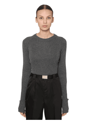 Cropped Cashmere Knit Sweater
