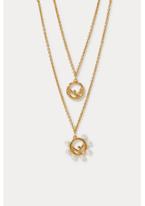 F is Fendi double-chain necklace
