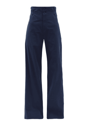 Connolly - High Rise Cotton Blend Wide Leg Trousers - Womens - Navy
