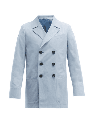 Connolly - Double Breasted Cotton Blazer - Mens - Blue