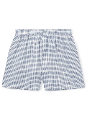 Sunspel - Printed Cotton Boxer Shorts - Blue