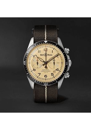 Bell & Ross - Br V2-94 Automatic Chronograph 41mm Stainless Steel And Canvas Watch - Beige