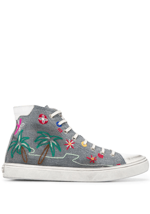 Saint Laurent Bedford tropical-embroidered sneakers - Grey