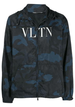 Valentino camouflage logo print hoodie - Blue