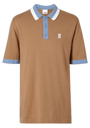 Burberry Monogram Motif Tipped Cotton Polo Shirt - Brown