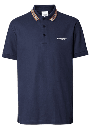 Burberry Icon Stripe Detail Cotton Piqué Polo Shirt - Blue