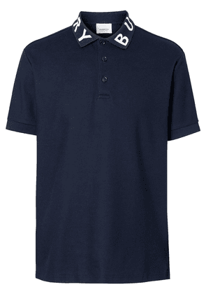Burberry Logo Intarsia Cotton Piqué Polo Shirt - Blue