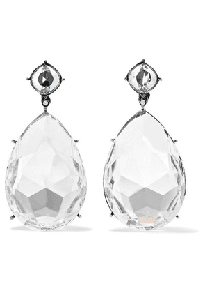 Alexander McQueen - Gunmetal-tone Crystal Clip Earrings - Clear