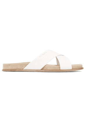 Prada - Croc-effect Leather Slides - White