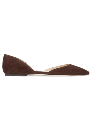 Jimmy Choo - Esther Suede Point-toe Flats - Dark brown