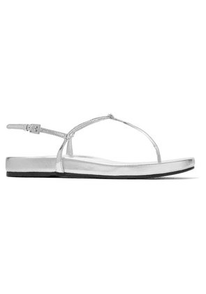 Prada - Metallic Leather Sandals - Silver