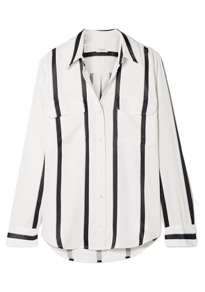 Equipment - Signature Striped Satin Shirt - White