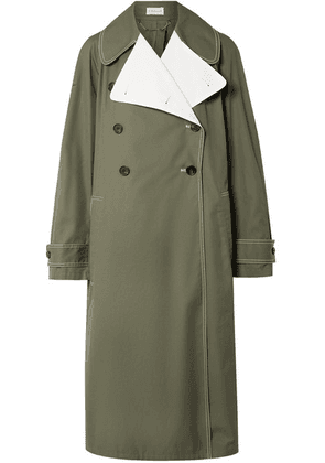 By Malene Birger - Hazina Double-breasted Two-tone Cotton-gabardine Coat - Army green