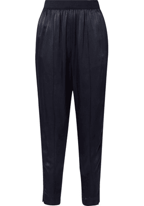 By Malene Birger - Ietos Grosgrain-trimmed Satin Tapered Pants - Navy