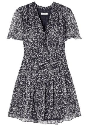 Equipment - Lisle Floral-print Silk-chiffon Mini Dress - Navy
