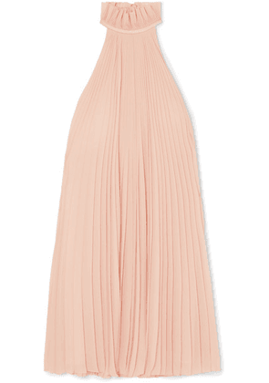 Givenchy - Satin-paneled Ruffled Pleated Silk-georgette Halterneck Mini Dress - Pink