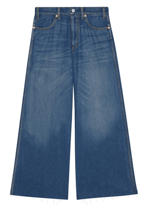 Gucci Wide leg denim trousers with patch - Blue
