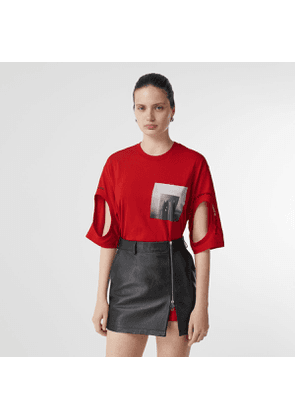 Burberry Cut-out Detail Montage Print Oversized T-shirt, Red