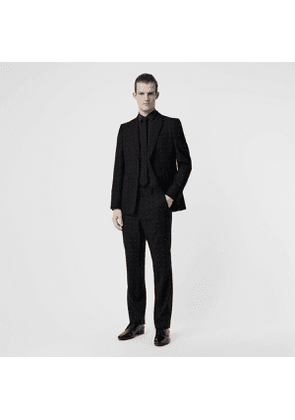 Burberry Classic Fit Fil Coupé Wool Cotton Tailored Trousers, Size: 44, Black