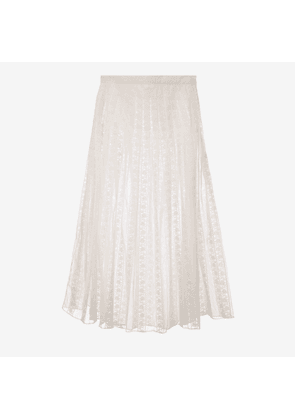 Cotton Lace Pleated Skirt White 42