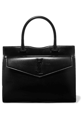 SAINT LAURENT - Uptown Medium Glossed-leather Tote - Black
