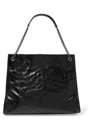 SAINT LAURENT - Niki Large Quilted Crinkled Glossed-leather Tote - Black