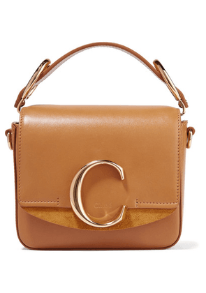Chloé - Chloé C Mini Suede-trimmed Leather Shoulder Bag - Camel