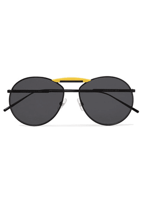 Fendi - Gentle Fendi Aviator-style Metal Mirrored Sunglasses - Black