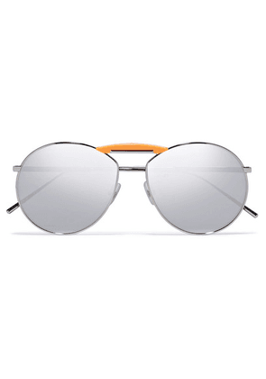 Fendi - Gentle Fendi Aviator-style Silver-tone Mirrored Sunglasses - one size