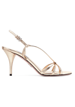 Prada - 85 Metallic Leather Sandals - Gold