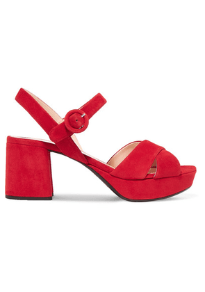 Prada - 65 Suede Platform Sandals - Red