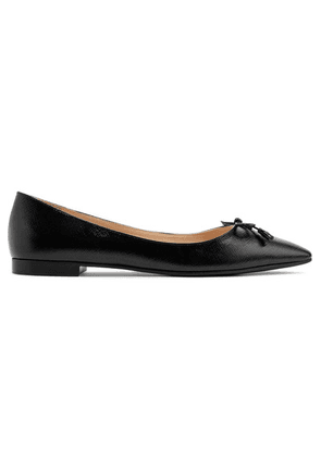 Prada - Textured-leather Ballet Flats - Black