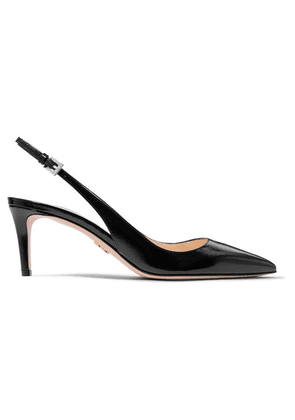 Prada - 65 Textured Patent-leather Slingback Pumps - Black
