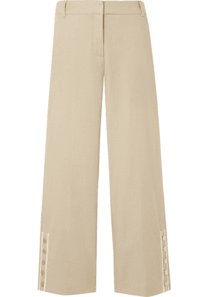 Veronica Beard - Martin Cropped Grosgrain-trimmed Linen-blend Flared Pants - Beige