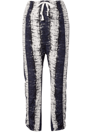 By Malene Birger - Delma Printed Cotton And Silk-blend Pants - Navy