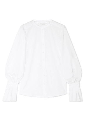 Carolina Herrera - Ruffled Cotton-blend Poplin Shirt - White