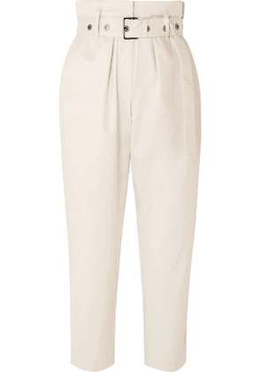 Brunello Cucinelli - Belted Cropped Cotton-blend Straight-leg Pants - Cream