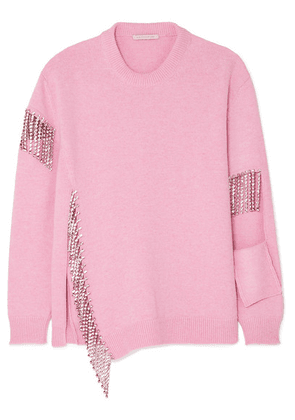Christopher Kane - Oversized Crystal-embellished Cutout Wool Sweater - Pink