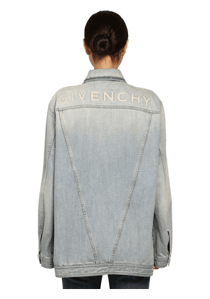 Oversize Logo Cotton Denim Jacket