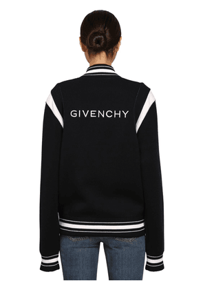 Logo Wool Knit Bomber Jacket