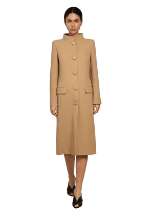 Double Wool Crepe Midi Coat