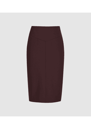 Reiss Lissia Skirt - Textured Pencil Skirt in Berry, Womens, Size 4