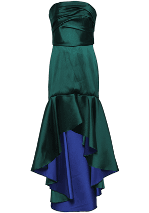 e2f99075283 Marchesa Notte Strapless Ruched Duchesse-satin Gown Woman Emerald Size 6.  SALE